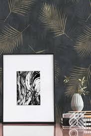 vliestapete palme schwarz wandgestaltung wohnzimmer tapete