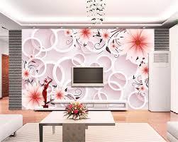 beibehang moderne wohnzimmer hintergrund 3d tapete fantasie rosa blume 3d kreis tv wand 3d tapete papier peint wandbild 3d