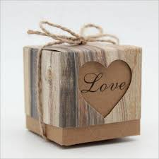120PCS LOT Love Heart Rustic Wedding Candy Box For Cake And