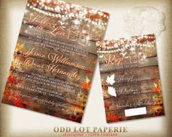 Fall Wedding Invitation Rustic Invite Country Mason Jar String Lights Autumn Leaves DIY Printable