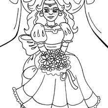 Beautiful Princess With Flower Coloring Page