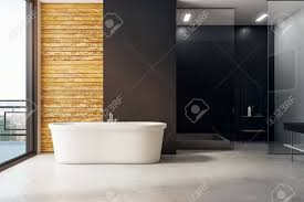 modernes badezimmer mit badewanne tageslicht und platz für text an der wand modell 3d rendering