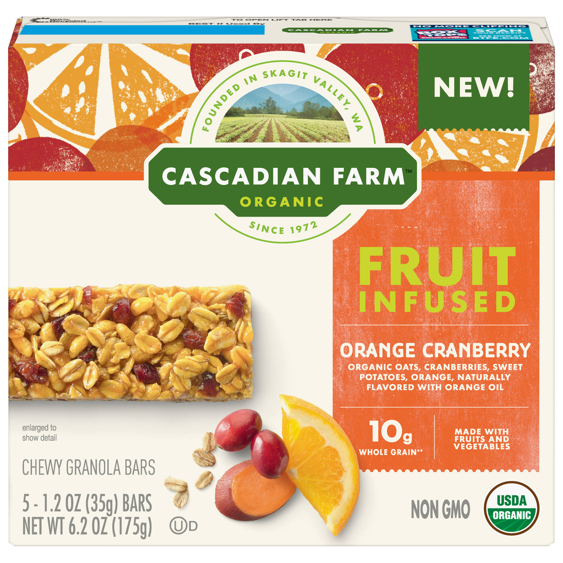Cascadian Farm Organic Granola Bars, Chewy, Fruit Infused - 5 pack, 1.2 oz bars