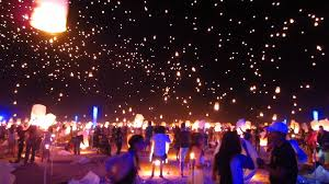 Lanterns lit up the sky at the RiSE Festival in the Moapa River
