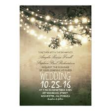 Rustic Tree Branches String Lights Wedding Invitation Card