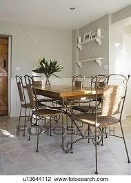 metall und korbgeflecht stühle mit holz und metall