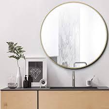 nugoo runder spiegel zur wandmontage moderner spiegel mit metallrahmen dekorativer spiegel für schlafzimmer wohnzimmer und galerie größe 31 5