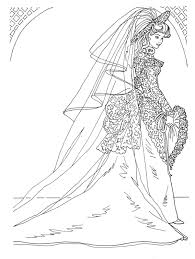 COLORING PAGES WEDDING DAY BARBIE IN BRIDAL GOWN