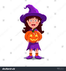 Pumpkin Carving Witch Face Template by Little Kid Witch Costume Holding Stock Vector 710441317