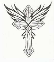 Pin Gothic Cross Tattoo Drawing And Wings Picture