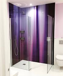 Purple Printed Glass Shower Splashback From Richard Osbournes Kinetic Abstracts