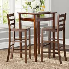 Brown 3 Piece Wood Bistro Pub Dining Set Glass Table Top Home ...