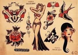 Sailor Jerry Tattoo Flash Heart Flower Tattoos