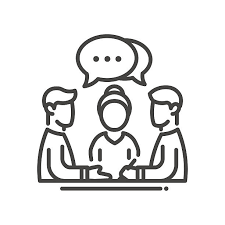Business meeting single icon vector art illustration