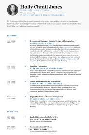 E Commerce Manager Graphic Design Photographer Resume Samples