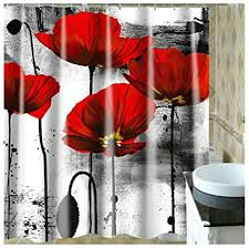 aienid badezimmer dekoration blau weiß rote blume rot bad