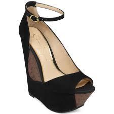 jessica simpson maggey ankle strap platform wedges in black lyst
