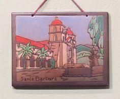 Mission Tile Inc Santa Cruz by Vintage 1920 30s Claycraft Potteries Spanish Mission Scenic Tile