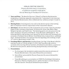 Church Meeting Minutes Template Annual Corporate Board Free