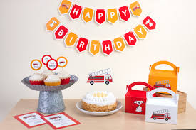 100 Fire Truck Cupcake Toppers Party Set
