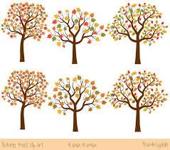 Autumn tree clip art Fall tree clipart Digital tree set