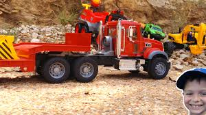 100 Trash Truck Videos For Kids Youtube Bruder Mack Granite Gets Stuck Flatbed To The RESCUE