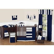 Sweet Jojo Designs Navy and Grey Stripe Crib Bedding Collection
