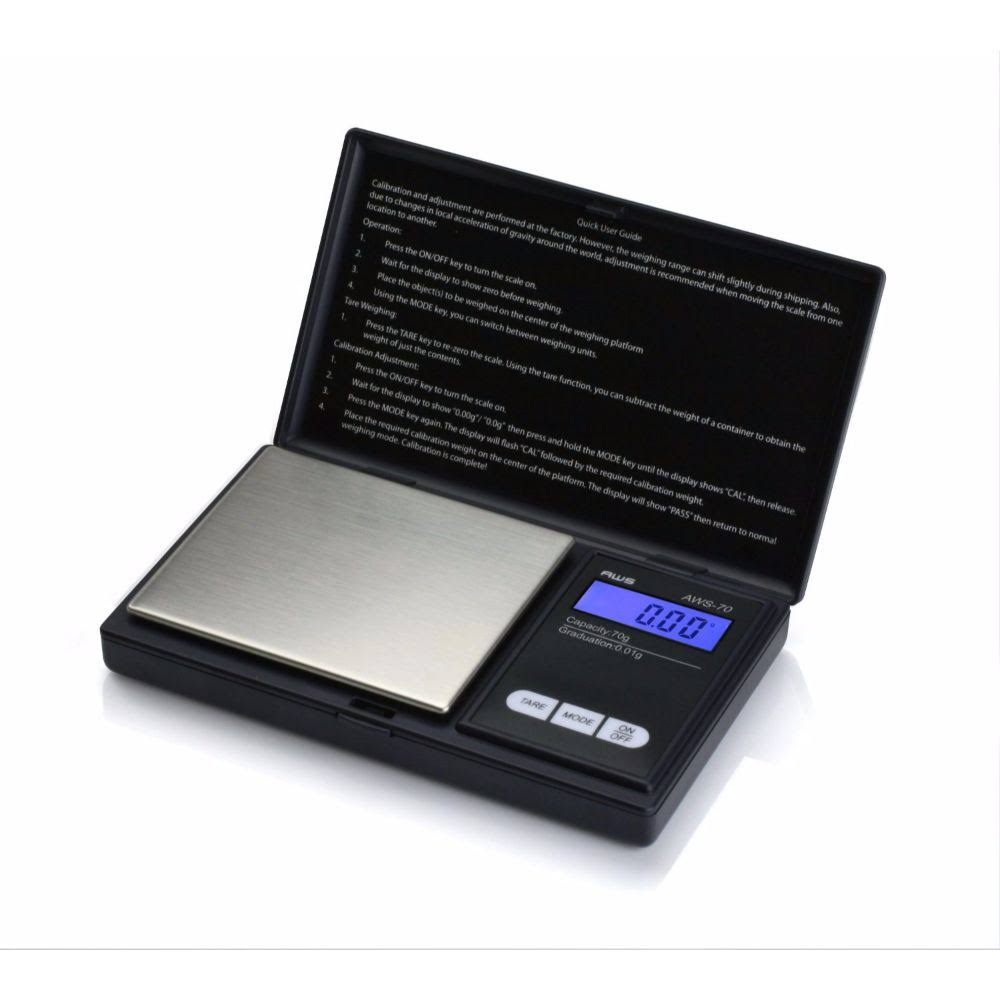 American Weigh Scale Signature Series Aws-70 Digital Pocket Scale - Black, 70g X 0.01g