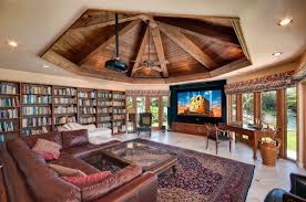 Wonderful Home Theater And Library Design With Wooden Vaulted Ceiling Also Brown Leather Sofa Plus Built