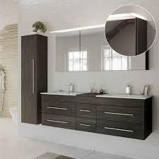 lomado badmöbelset in anthrazit gemasert newland 02 doppel waschtisch mit unterschrank led spiegelschrank hochschrank b h t ca 208 200 47 cm