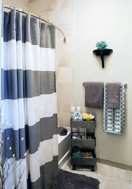 Gray And Teal Bathroom by Remarkable Ways To Inspire With Striped Curtains