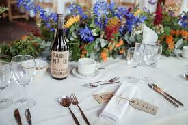 Flowers Rustic Table Number Stickers For Wine Bottle Persolasied With Name Of Couple