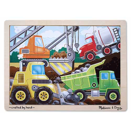 Melissa and Doug Wooden Construction Site Jigsaw Puzzle - 12pcs