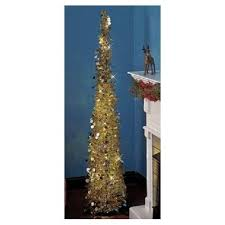 Artificial Christmas Tree Prelit 5 Ft Slim Sequins Wireless Timer Green Red Or Silver Gold LED