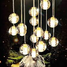 glass hanging light with discount 10 heads aluminum wire
