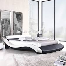 Latest Italian Faux Leather Sleigh Double Bed Design Furniture