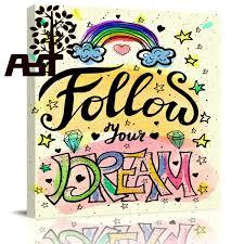 ArtStore Dibujos Animados Arco Iris Carta Imagen Pintura Al óleo Lienzo Impresión Marco De Madera