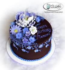 Chocolate Buttercream Birthday Cakes with Flowers