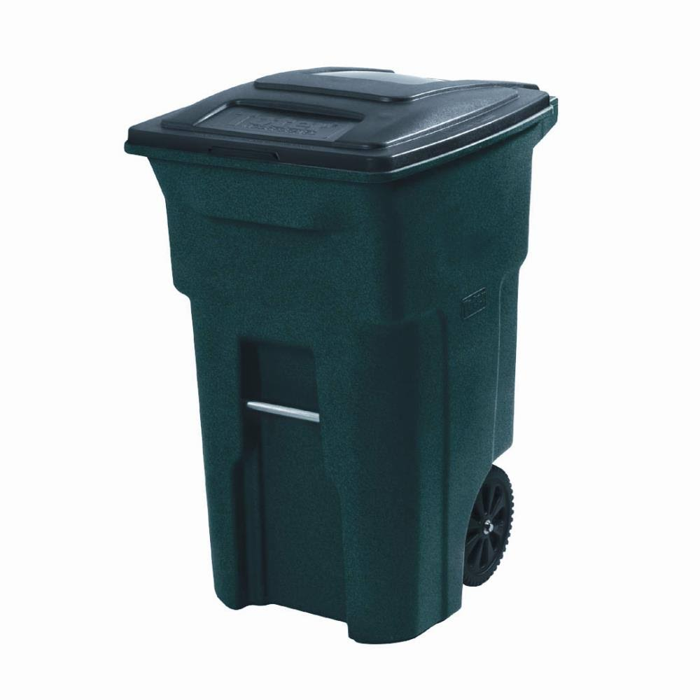 Toter Heavy Duty Trash Waste Can Bin - 64 Gallon, Green, with Rugged Wheels and Attached Lid