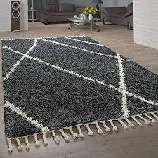paco home shaggy teppich wohnzimmer hochflor rauten muster skandi design grösse 120x170 cm farbe anthrazit