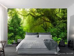 großhandel benutzerdefinierte wallpaper 3d ansicht tropen wälder wasserfall bäume dschungel natur moderne abstrakte kunst wandaufkleber wohnzimmer