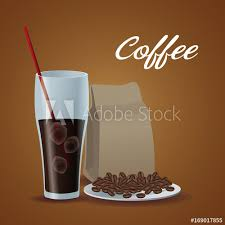 Color Poster Glass Cup Of Iced Coffee With Package Beans In Dish Vector Illustration
