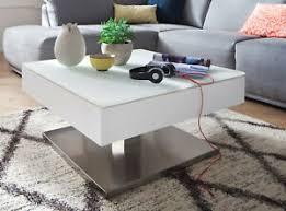 details zu couchtisch weiß matt lack wohnzimmer tisch drehbar edelstahl 75 x 75 cm mariko