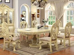 Antique White Formal Dining Room Set For 10 Shown With Buffet