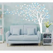 baum wandtattoo blau blumen baum vögeln wandaufkleber deko für wohnzimmer schlafzimmer kinderzimmer babyzimmer entfernbare wandtattoo wandbilder