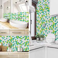 zztx fliesenaufkleber für küche glitter mosaikboden badezimmer 20x20 cm grün weiß simulation tapete ölfest wasserdicht selbstklebend pvc vinyl
