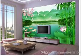 großhandel neun fische figur chinesischen wohnzimmer tv wand dekoration malerei wandbild 3d wallpaper 3d tapeten für tv hintergrund