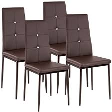 4 esszimmerstühle kunstleder mit glitzersteinen braun