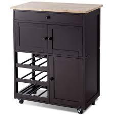Gymax Modern Rolling Kitchen Cart Trolley Island Storage Cabinet WDrawerWine Rack