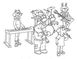Street Animal Band Play Musical Instruments Coloring Pages